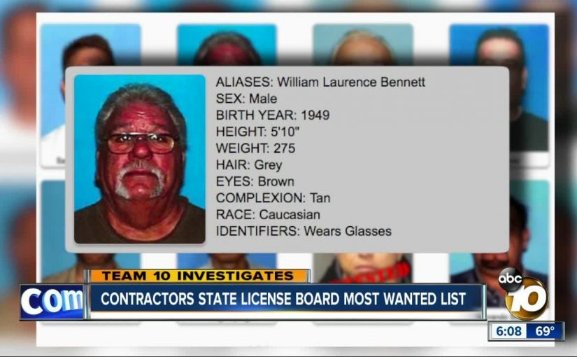 Contractors State License Board most wanted list